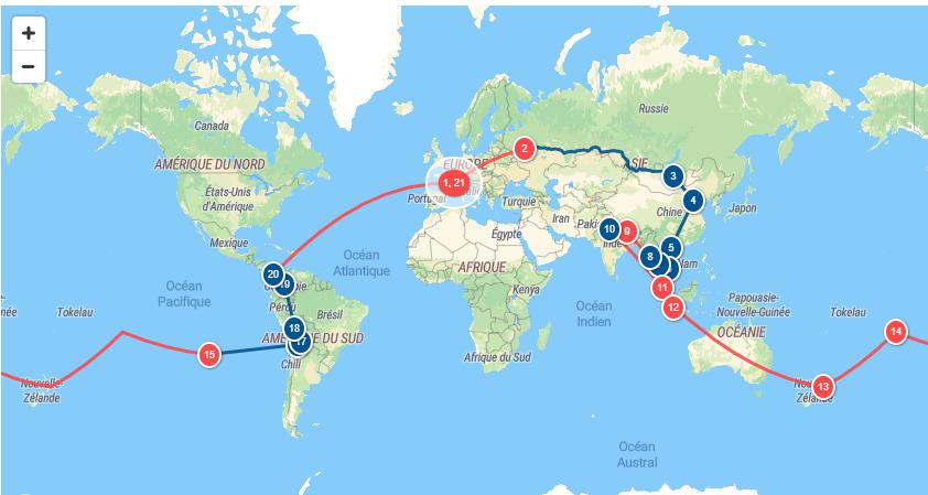 Carte tour du monde Cyril et Marianne
