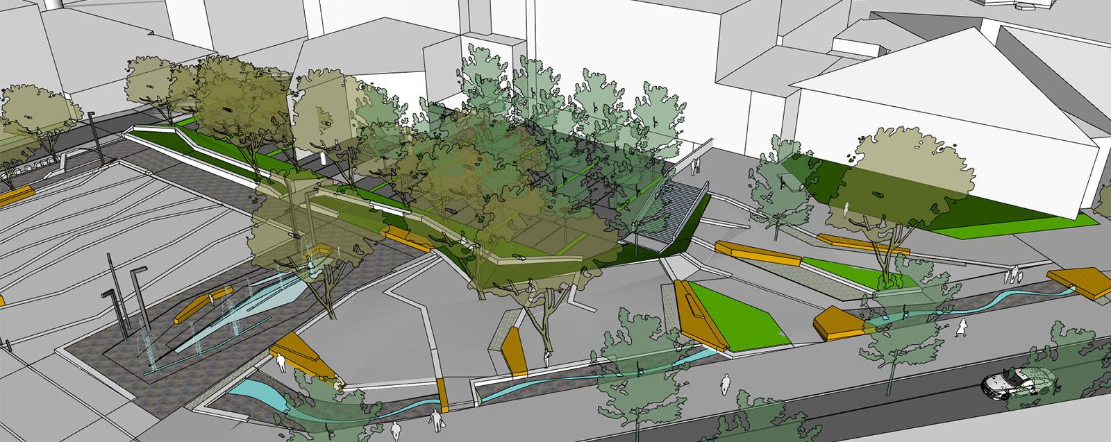 Avant-projet de la place du centre-ville