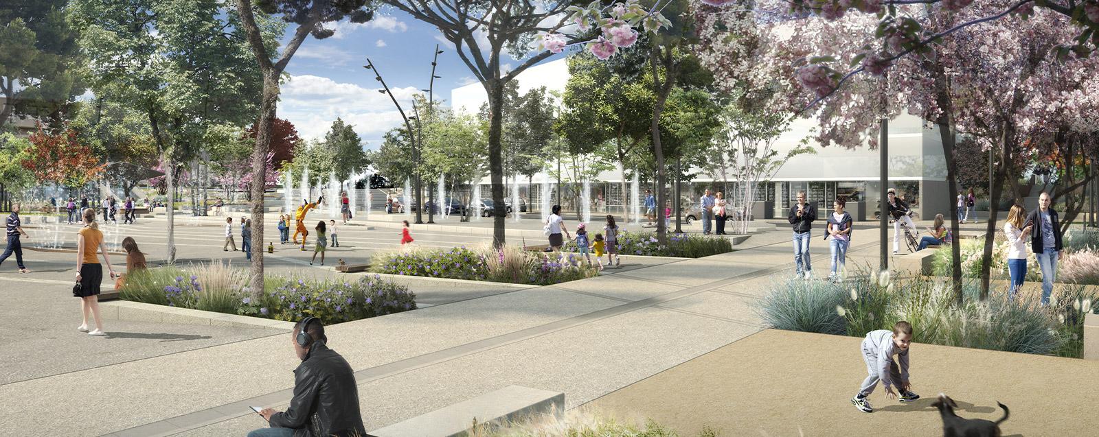 Projet de la place centrale (crédits : Axe Saone - Suez)