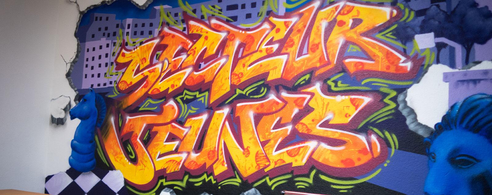 """Fresque """"secteur jeunes"""" de la maison de quartier de Servenoble"""