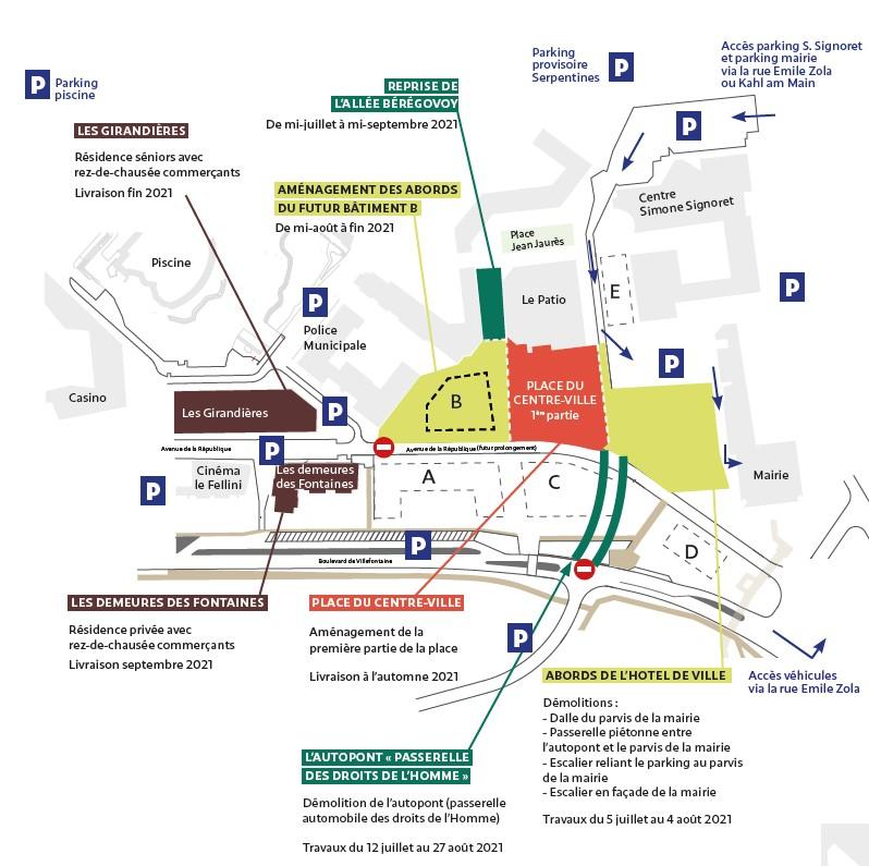 Plan des travaux du centre-ville de Villefontaine été 2021